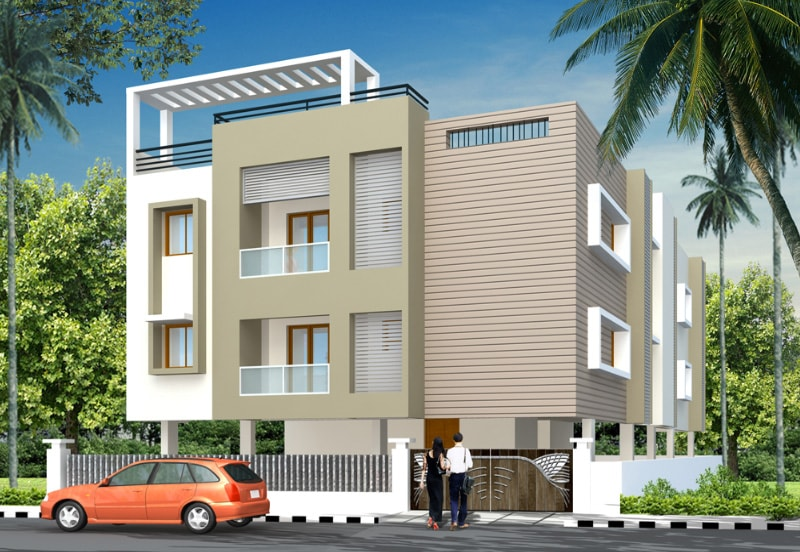 'Cinnamon Leaves' Apartment in Porur - Elevation by Green Leaves